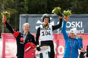 Snowboarder Duncan Campbell in the Medals at Junior Worlds